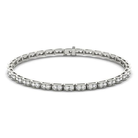 Moissanite by Charles & Colvard 14k White Gold 1.9 DEW Tennis Bracelet