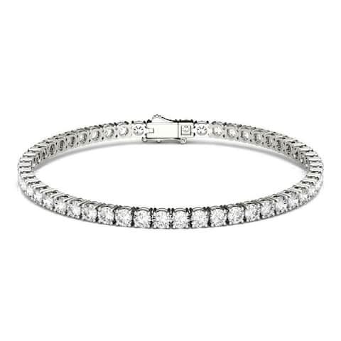 Moissanite by Charles & Colvard 14k White Gold 5.5 DEW Round Tennis Bracelet