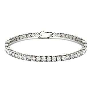 Moissanite by Charles & Colvard 14k White Gold 5.5 DEW Round Tennis Bracelet