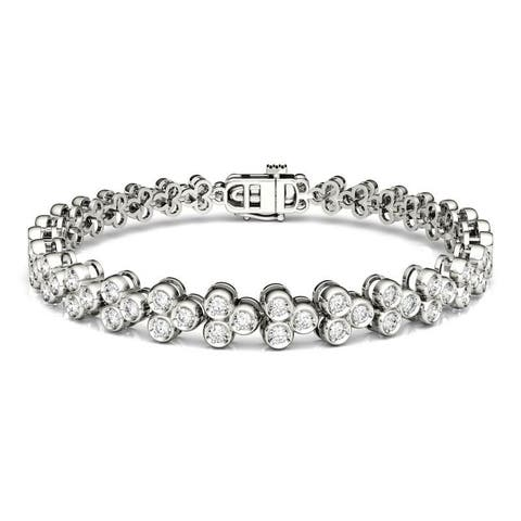 Moissanite by Charles & Colvard 14k White Gold 2.41 DEW Bezel Set Tennis Bracelet