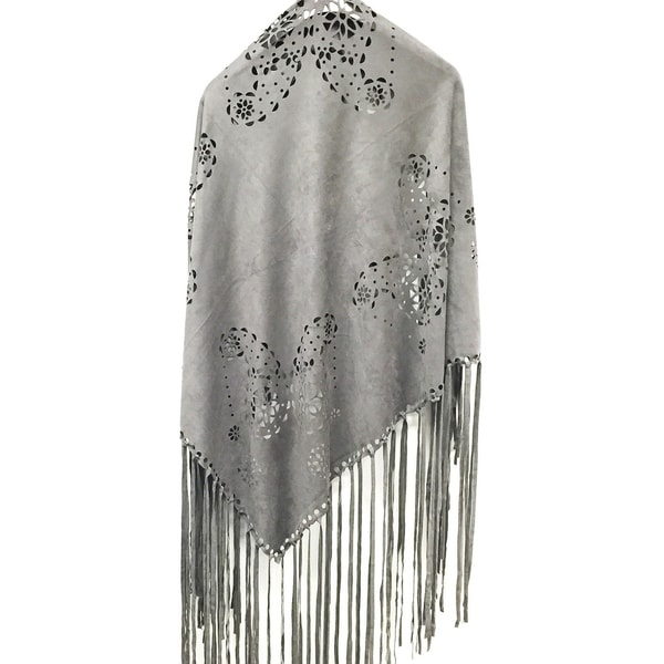 9f1d67752 Laser Cut Faux Suede Cape Shawl with Fringe Details - Dark Gray Scarf - One  size