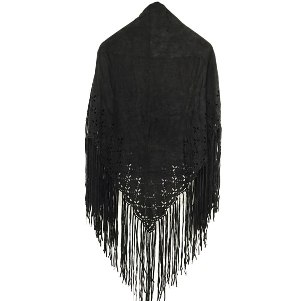 ab3fb3a36 Laser Cut Faux Suede Cape Shawl with Fringe Details -Black Scarf - One size