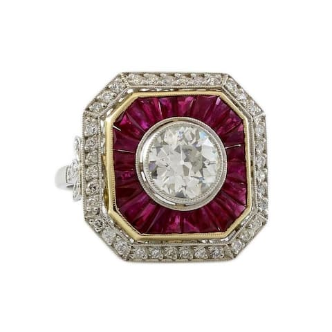 Platinum 1.75 CTW Diamond and Ruby Estate Ring (I - J,I1 - I2) Size - 6.5
