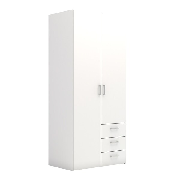 Space White Wardrobe with 2 Doors and 3 Drawers