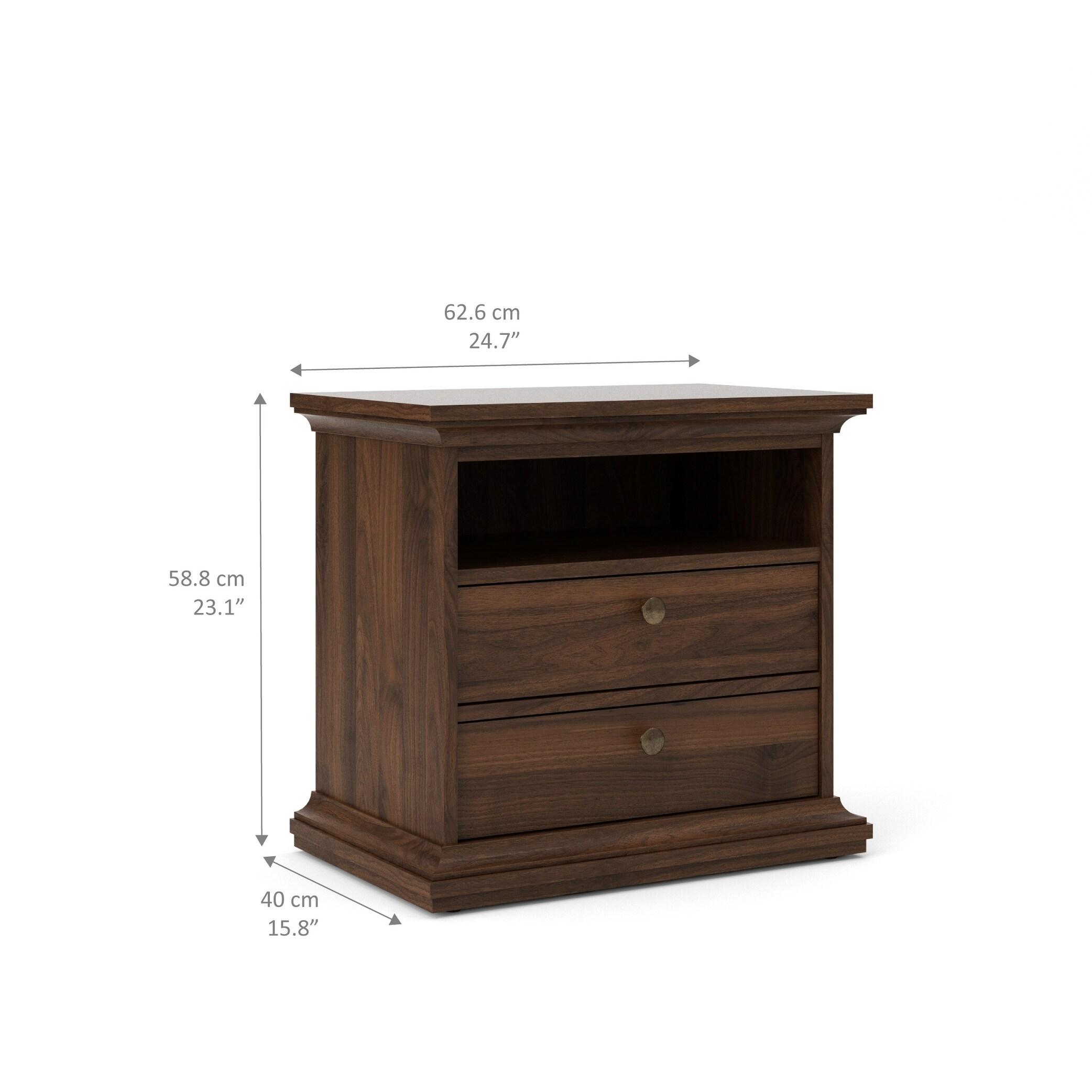 Porch Den Virginia Walnut 2 Drawer And 1 Shelf Nightstand