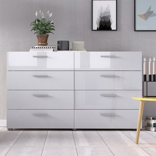 Austin Oak Structure and White High Gloss 8-Drawer Double Dresser