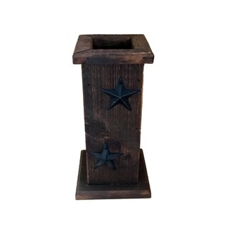 Primitive Wooden Decorative Vase w/ Rustic Stars - Stained, Black, and Antique White