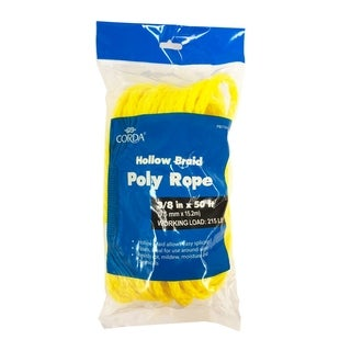 3/8in x 50ft Hollow Braid Poly Rope