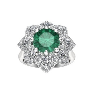Noray Designs 14K White Gold Emerald Diamond 0 90 Ct G H Color SI2 I1 Clarity Engagement Ring