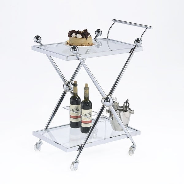 Shop Rolling Cart Silver Plated Glass Overstock 25572814