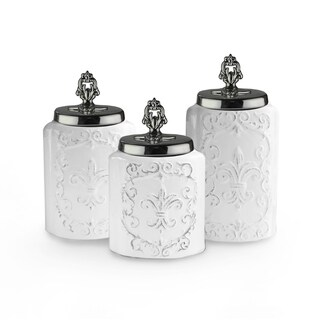white w/silver lids set/3 canisters