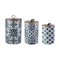 blue medallions 3 pc canister set