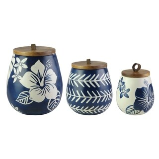 floral blue/white canister set - N/A