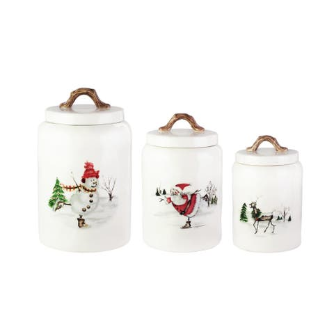 winter holiday 3pc canister set