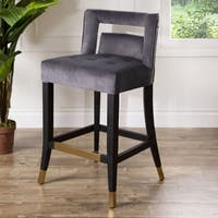 Shop Abbyson Darcy Curved Back Velvet Bar Stool On Sale