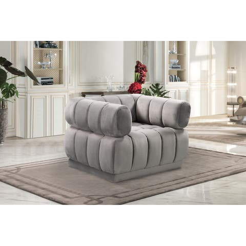 Chic Home Tofino Velvet Upholstered Channel-Quilted Club Chair
