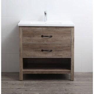 Legion Furniture WM8732 Antique Oak and White Ceramic 32-inch No-faucet Vanity