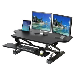AIRLIFT Black 47 in Large Height Adjustable Standing Desk Converter Workstation With Dual Monitor Riser And Keyboard Tray