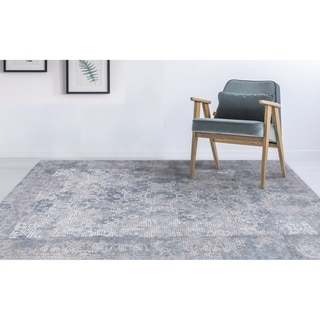 "Aspen Bordered Gray Viscose/ Polyester Area Rug - 4'1"" x 6'"