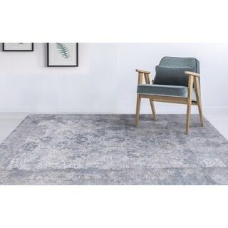 "Aspen Bordered Gray Viscose/ Polyester Area Rug - 7'6"" x 9'6"""