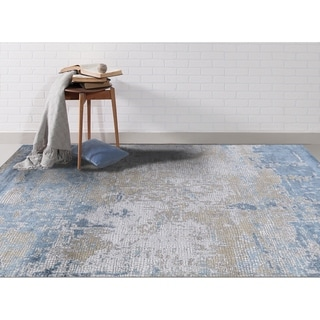 "Aspen Abstract Light Blue Viscose/ Polyester Area Rug - 7'6"" x 9'6"""