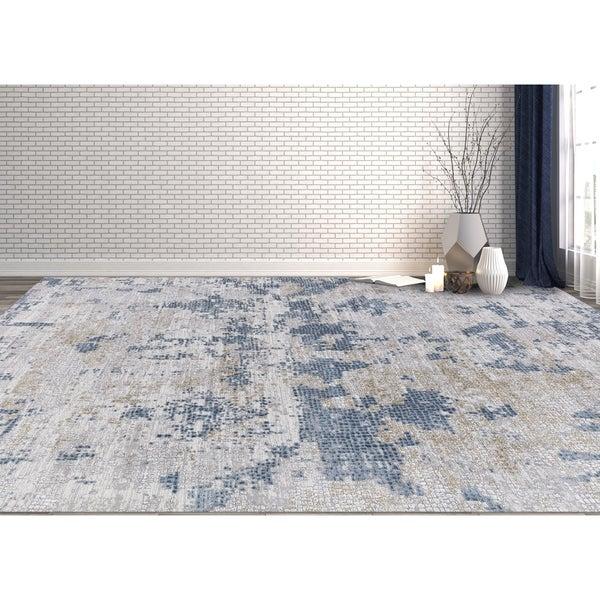 "Aspen Abstract Blue Viscose/ Polyester Area Rug - 5'3"" x 7'6"""