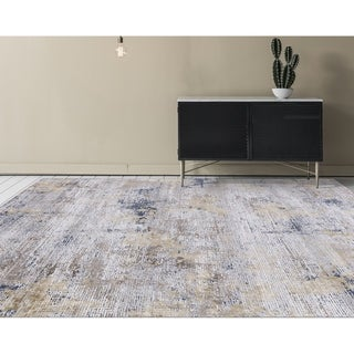 "Aspen Abstract Gold Viscose/ Polyester Area Rug - 8'6"" x 11'6"""