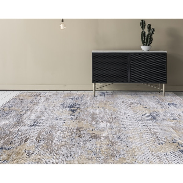 "Aspen Abstract Gold Viscose/ Polyester Area Rug - 4'1"" x 6'"