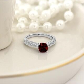 Auriya 1ct Unique Cushion Cut Garnet And Diamond Engagement Ring 3 8ctw 14k Gold