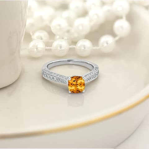 Auriya 1ct Fancy Cushion-Cut Citrine and 3/8ctw Diamond Engagement Ring 14kt Gold