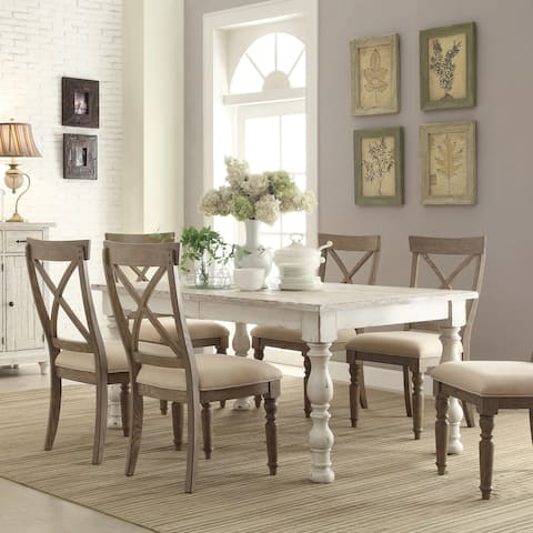 The Gray Barn Zephyr Parcel Weathered Worn White 7-piece Dining Set