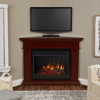 Real Flame Kennedy Grand Dark Walnut Wood Finish Corner Electric Fireplace