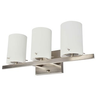 3 Light Vanity Lighting in Brushed Nickel and White frosted Glass
