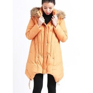 Peach European Goose Down Coat with Detachable Hood