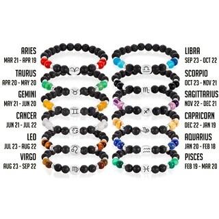 Zodiac Sign Horoscope Natural Stone Beaded Bracelet
