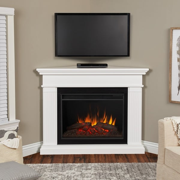 Shop Kennedy Grand Corner Electric Fireplace In White By Real Flame