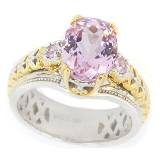 Michael Valitutti Palladium Silver Kunzite & Pink Sapphire Cocktail Ring