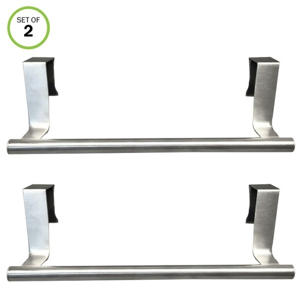 Evelots 2 Kitchen/Bath Over The Cabinet Towel Bars, Stainless Steel