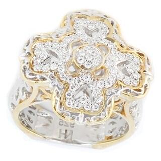 Michael Valitutti Palladium Silver Multi Diamond Cross Shape Cluster Ring