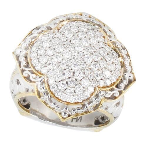 Gems en Vogue Palladium Silver Multi Diamond Cluster Ring