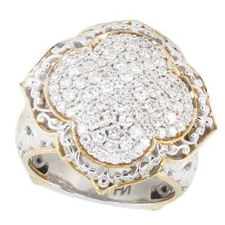 Michael Valitutti Palladium Silver Multi Diamond Cluster Ring