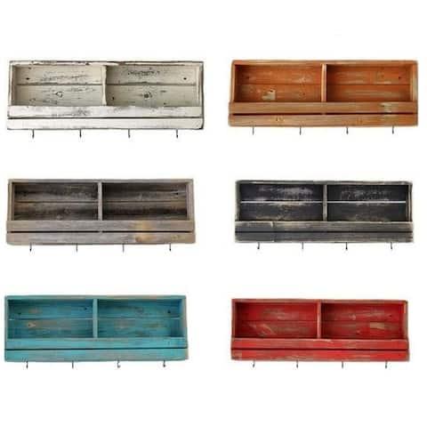 Slatted Rustic Distressed Reclaimed Wood Tea Shelf