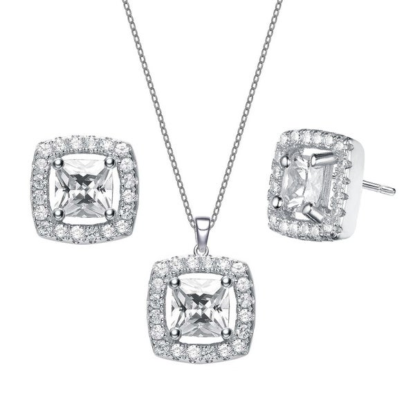 64f2f99f673 Shop Collette Z Sterling Silver with Rhodium Plated Clear Princess ...