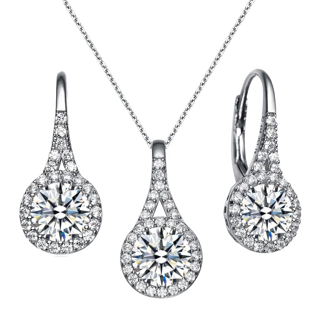 Ladies 925 silver 4Pcs set Necklace Bracelet earring Clear Crystal stone RRP100