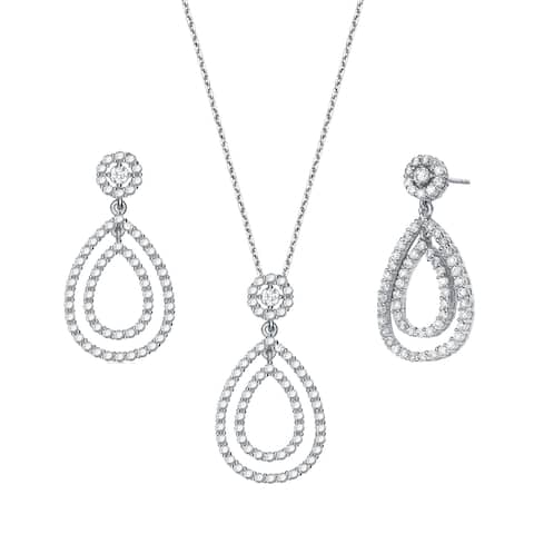 Collette Z Sterling Silver with Rhodium Plated Clear Round Cubic Zirconia Pave Two Open Pear Drop Jewelry Set