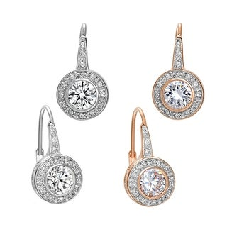 Collette Z Sterling Silver with Rose Gold and Rhodium Plated Clear Round Cubic Zirconia with Halo Drop Earrings Set
