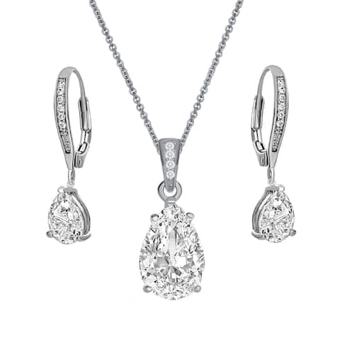 Collette Z Sterling with Rhodium Plated Clear Pear Cubic Zirconia Solitaire Drop Earrings and Necklace Set