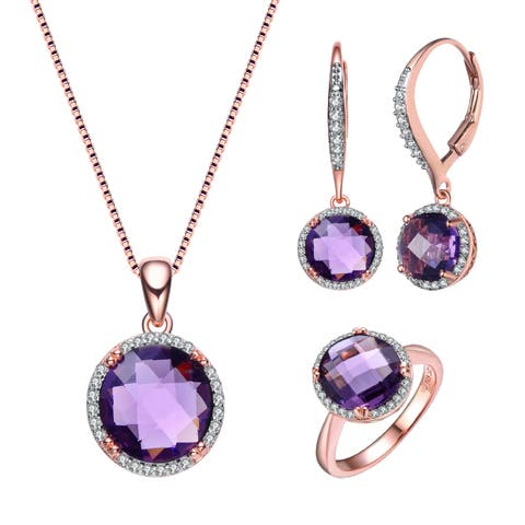 Collette Z Sterling Silver with Rose Gold Plated Purple Round Cubic Zirconia with Halo Jewelry Set