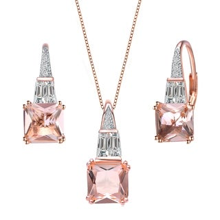 Collette Z Sterling Silver with Rose Gold Plated Morganite Cushion with Clear Baguette and Round Cubic Zirconia Jewelry Set