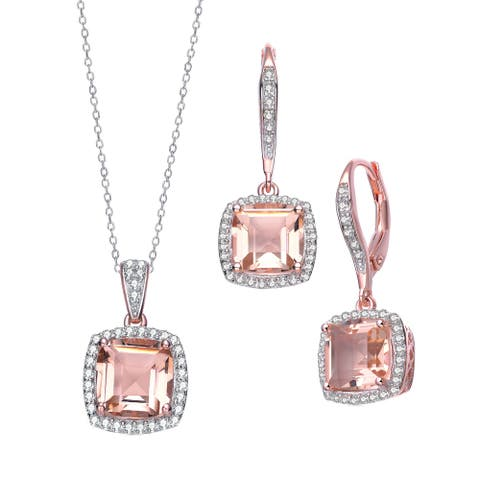 Collette Z Sterling Silver with Rose Gold Plated Morganite Cushion Cubic Zirconia with Halo Necklace and Earrings Jewelry Set
